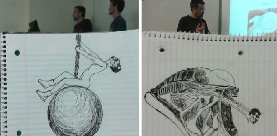 Студент, просиживая время на парах, рисовал своего преподавателя, создавая веселые карикатуры (11фото)