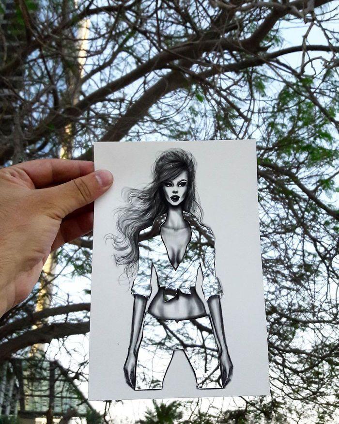 Иллюстратор создает модели женских нарядов с тканью из окружающих пейзажей (20 фото)
