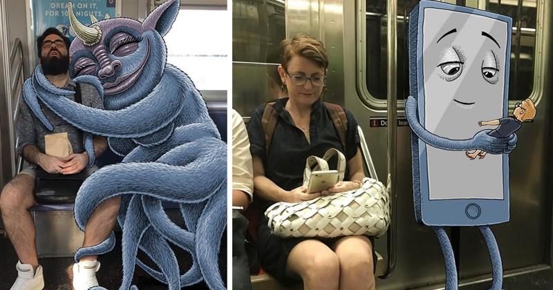 Нью-йоркский художник натравливает монстров на пассажиров метро (43фото)