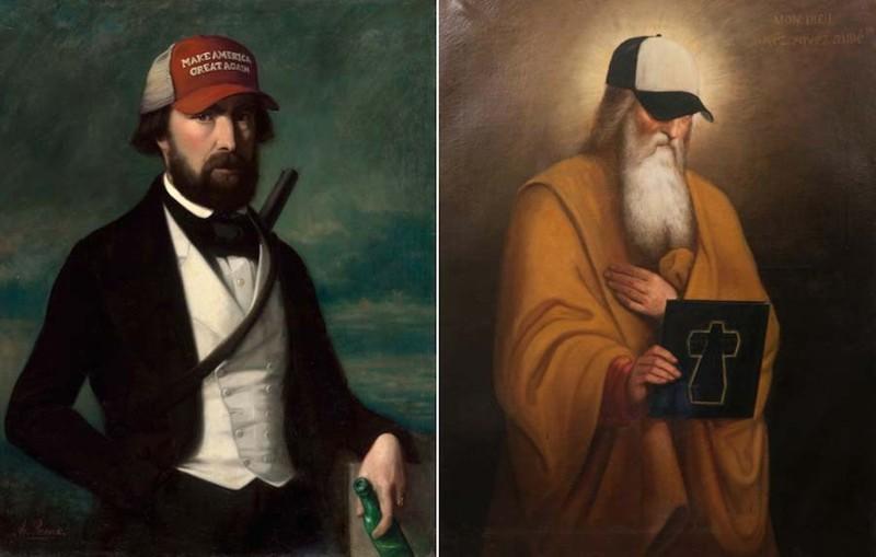 Художник вносит новые детали в старые картины, которые он купил на барахолке (12фото)