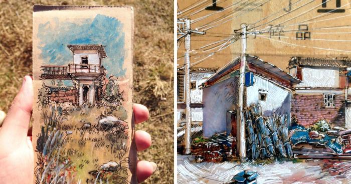Художник из Китая создает свои картины на самом обычном мусоре, который находит на улицах (20фото)