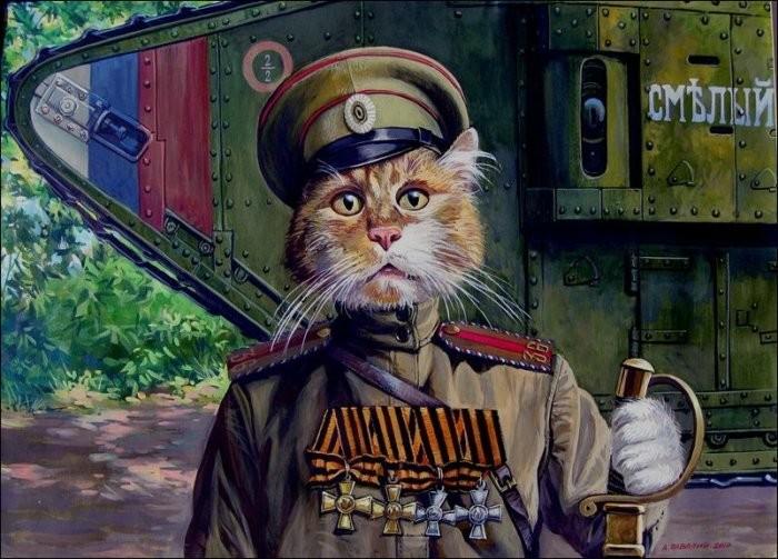 Храбрые мурлыки российского художника Александра Завалий (14фото)