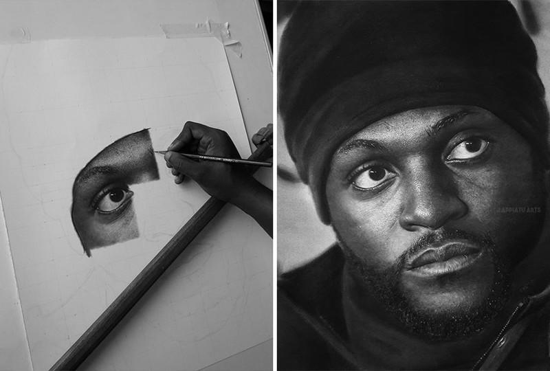 Углем и графитом он рисует эти фотореалистичные портреты (9фото)