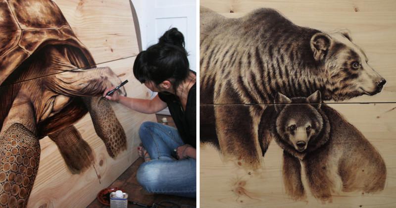 Художница из любви к природе рисует на старых досках (12фото)