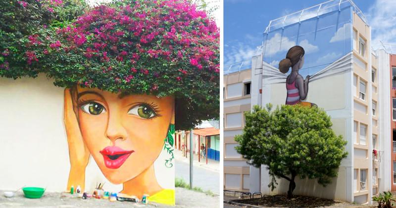 Уличное искусство, которое идеально сочетается с природой (65фото)