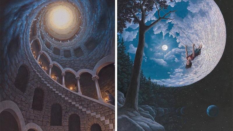 Картины канадского художника меняются в зависимости от ракурса (11фото)