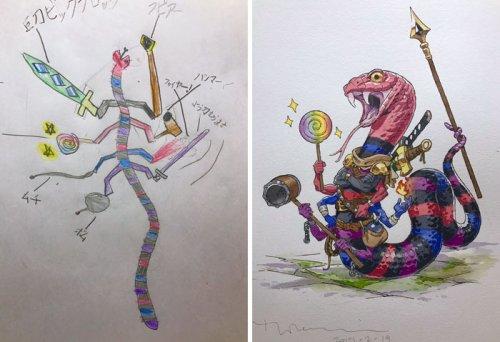 Художник превращает рисунки сыновей в невероятных аниме-персонажей (19 фото)