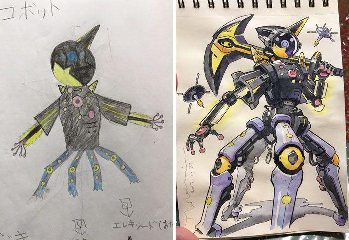 Аниме-художник превращает рисунки сыновей в крутых персонажей (12 фото)