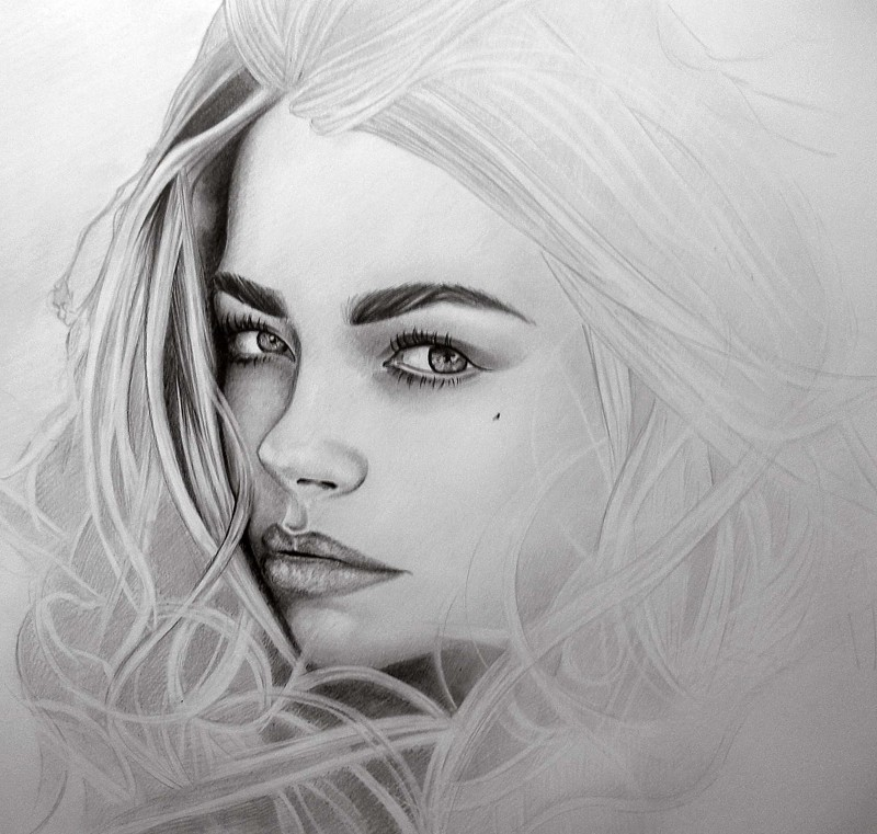Девушка графика рисунок