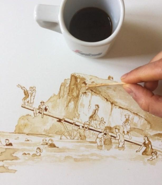 Красивые рисунки из кофейных пятен (11фото)