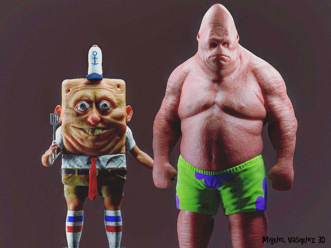 Художник нарисовал человекоподобных Губку Боба и Патрика. Жизнь меня к такому не готовила! (10фото)