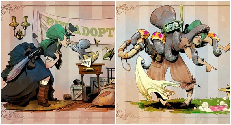 Как выглядит жизнь с домашним осьминогом: работы иллюстратора Дисней (55фото)