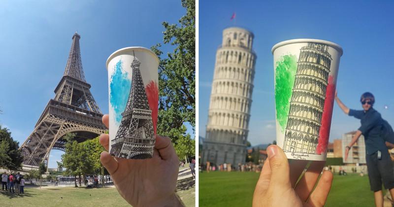 Художник-путешественник создает произведения искусства на бумажных стаканчиках (23фото)