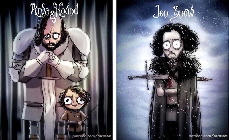 Персонажи из сериала «Игра престолов», оформленные в стиле режиссера Тима Бёртона (13фото)