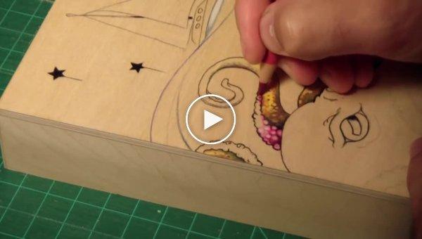 Злой осьминог цветными карандашами