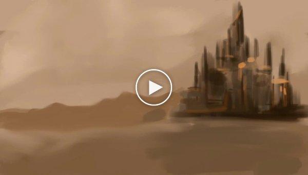 Фантастический пейзаж нарисованный пальцем на iPad