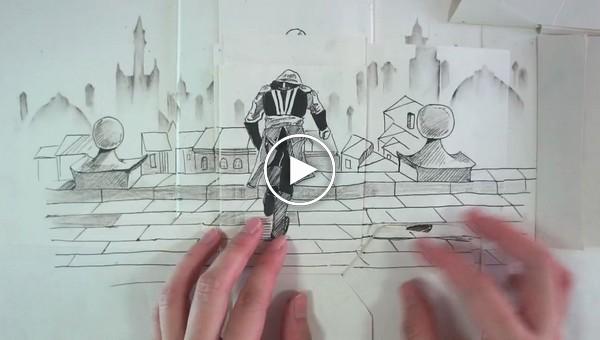 Когда комикс оживает. Бумажный Assassin's Creed от талантливого аниматора из Сингапура 's Creed, видео, геймер, игра