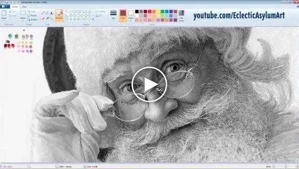 Невероятно реалистичное изображение Санта-Клауса, нарисованное в Paint